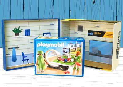 Diseño de caja Placo con juguete de Playmobil